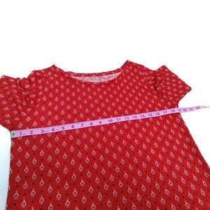 LOFT Tops - Loft Linen tee Red Geometric Print Small S